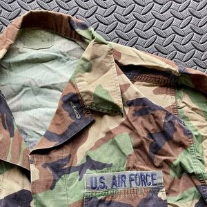 Vintage USAF Woodland Camo BDU Shirt Top